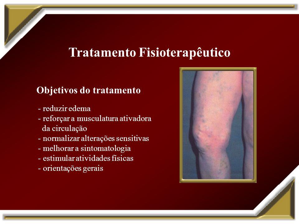 Tratamento Fisioterapêutico Objetivos do tratamento - reduzir edema - reforçar a musculatura ativadora da circulação - normalizar alterações sensitiva
