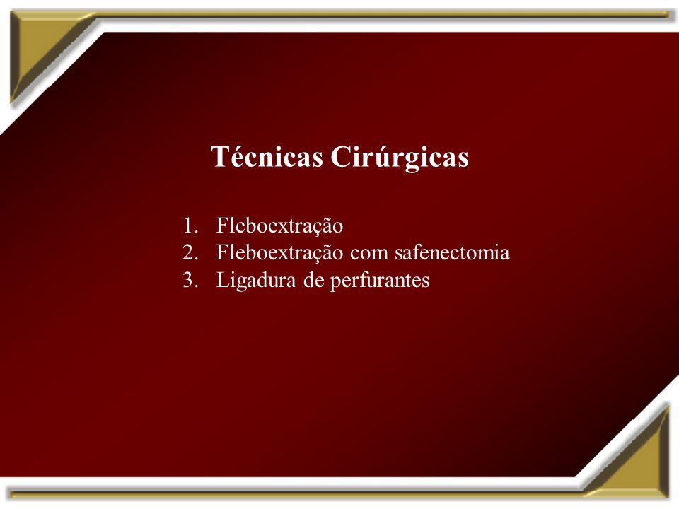 Técnicas Cirúrgicas 1.Fleboextração 2.Fleboextração com safenectomia 3.Ligadura de perfurantes