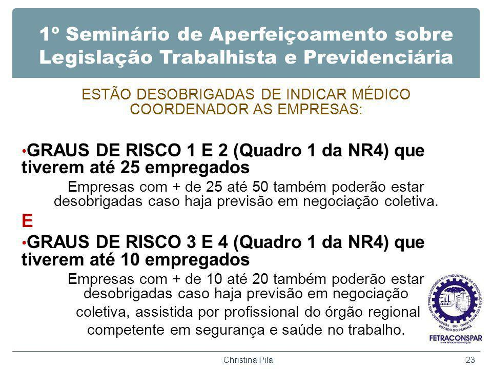 1º Seminário de Aperfeiçoamento sobre Legislação Trabalhista e Previdenciária ESTÃO DESOBRIGADAS DE INDICAR MÉDICO COORDENADOR AS EMPRESAS: GRAUS DE RISCO 1 E 2 (Quadro 1 da NR4) que tiverem até 25 empregados Empresas com + de 25 até 50 também poderão estar desobrigadas caso haja previsão em negociação coletiva.
