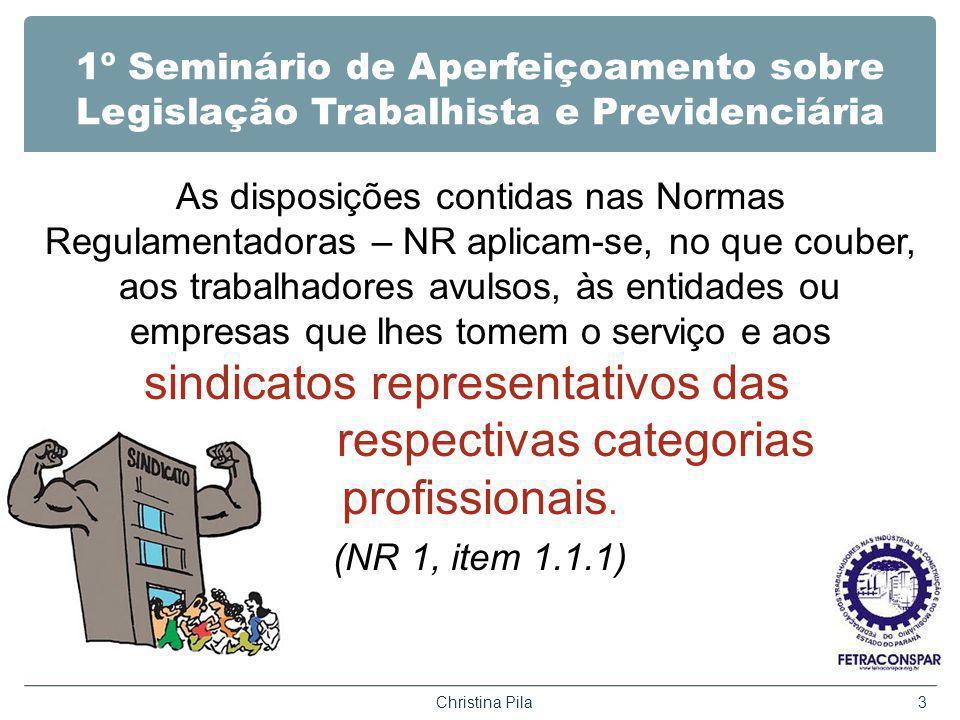 1º Seminário de Aperfeiçoamento sobre Legislação Trabalhista e Previdenciária As disposições contidas nas Normas Regulamentadoras – NR aplicam-se, no