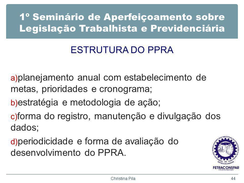 1º Seminário de Aperfeiçoamento sobre Legislação Trabalhista e Previdenciária ESTRUTURA DO PPRA a) planejamento anual com estabelecimento de metas, pr