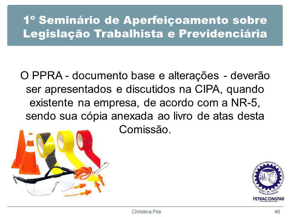 1º Seminário de Aperfeiçoamento sobre Legislação Trabalhista e Previdenciária O PPRA - documento base e alterações - deverão ser apresentados e discut