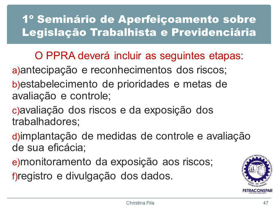 1º Seminário de Aperfeiçoamento sobre Legislação Trabalhista e Previdenciária O PPRA deverá incluir as seguintes etapas: a) antecipação e reconhecimen