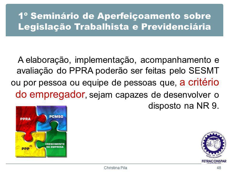 1º Seminário de Aperfeiçoamento sobre Legislação Trabalhista e Previdenciária A elaboração, implementação, acompanhamento e avaliação do PPRA poderão