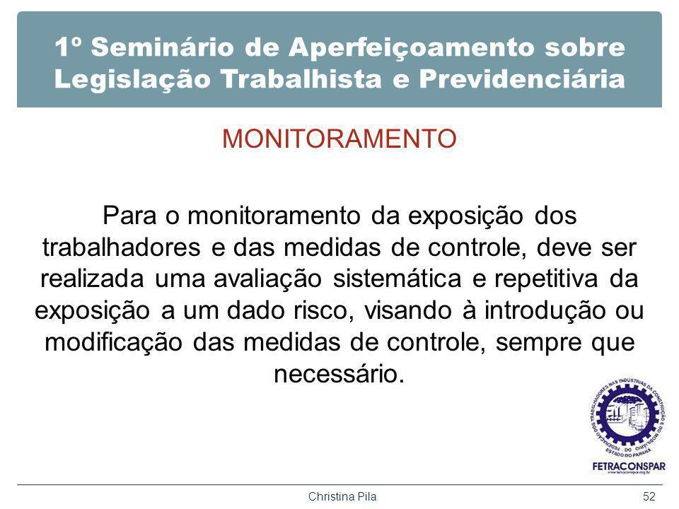 1º Seminário de Aperfeiçoamento sobre Legislação Trabalhista e Previdenciária MONITORAMENTO Para o monitoramento da exposição dos trabalhadores e das