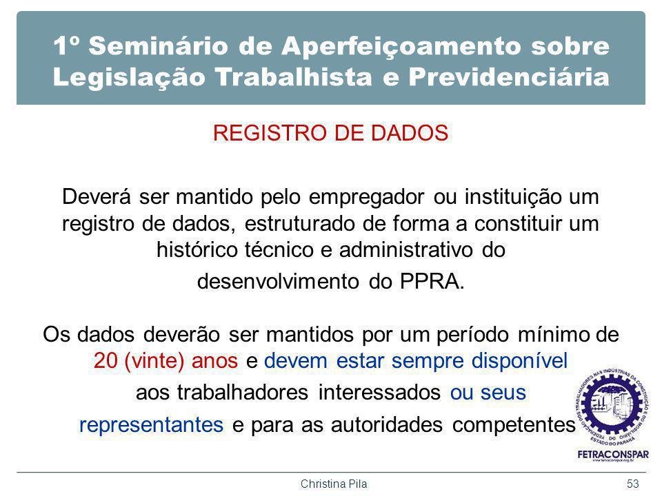 1º Seminário de Aperfeiçoamento sobre Legislação Trabalhista e Previdenciária REGISTRO DE DADOS Deverá ser mantido pelo empregador ou instituição um r