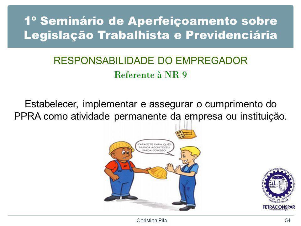 1º Seminário de Aperfeiçoamento sobre Legislação Trabalhista e Previdenciária RESPONSABILIDADE DO EMPREGADOR Referente à NR 9 Estabelecer, implementar