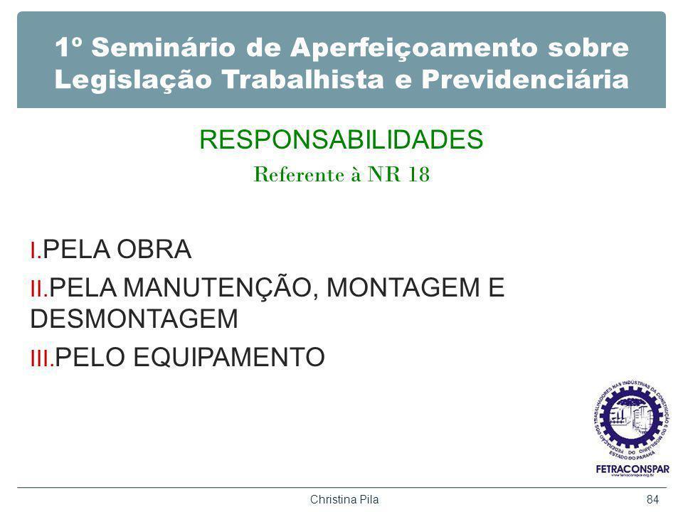 1º Seminário de Aperfeiçoamento sobre Legislação Trabalhista e Previdenciária RESPONSABILIDADES Referente à NR 18 I. PELA OBRA II. PELA MANUTENÇÃO, MO