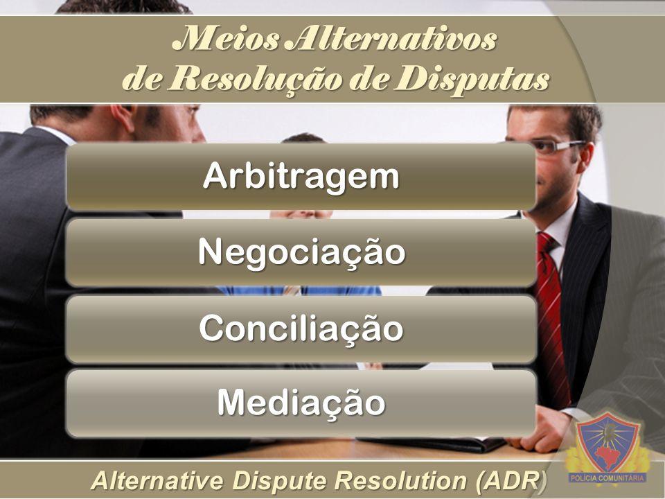 Alternative Dispute Resolution (ADR) Meios Alternativos de Resolução de Disputas Arbitragem Negociação Conciliação Mediação