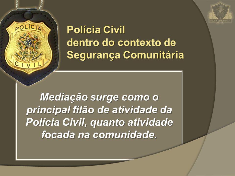 Mediação surge como o principal filão de atividade da Polícia Civil, quanto atividade focada na comunidade. Polícia Civil dentro do contexto de Segura