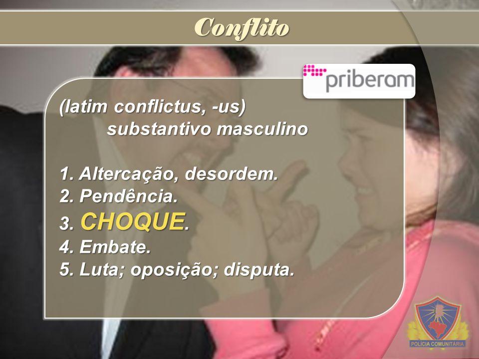 Conflito (latim conflictus, -us) substantivo masculino 1. Altercação, desordem. 2. Pendência. 3. CHOQUE. 4. Embate. 5. Luta; oposição; disputa.