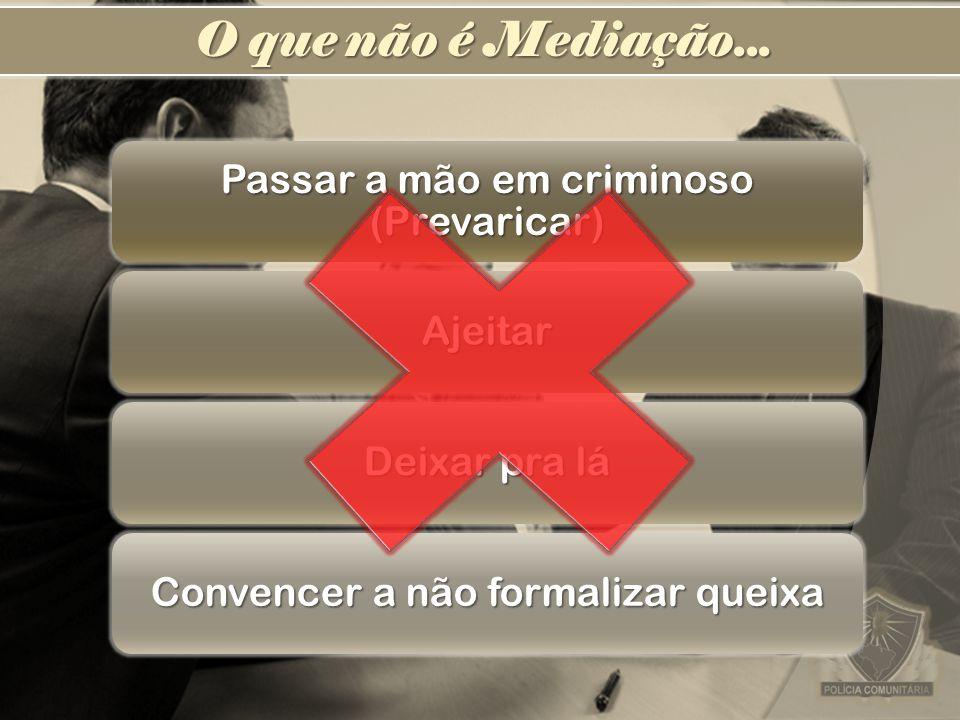 Passar a mão em criminoso (Prevaricar) Ajeitar Deixar pra lá Convencer a não formalizar queixa O que não é Mediação...