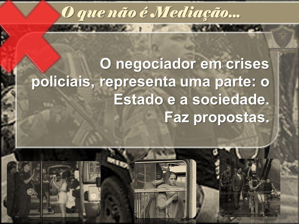 O negociador em crises policiais, representa uma parte: o Estado e a sociedade. Faz propostas. O que não é Mediação...