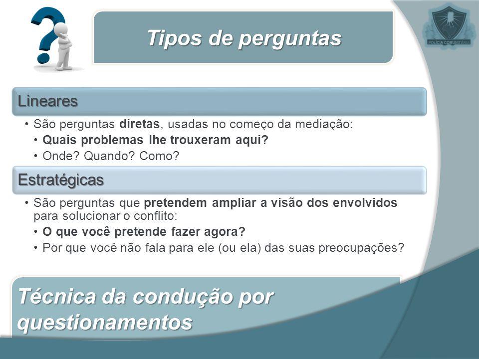 Técnica da condução por questionamentos Tipos de perguntas Lineares São perguntas diretas, usadas no começo da mediação: Quais problemas lhe trouxeram