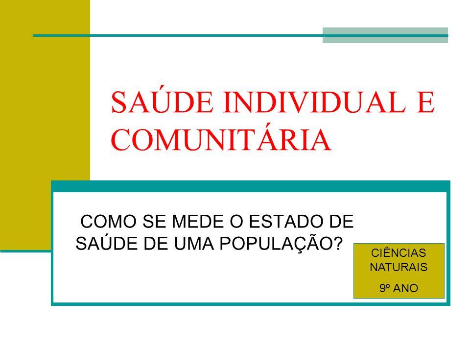 SAÚDE INDIVIDUAL E COMUNITÁRIA COMO SE MEDE O ESTADO DE SAÚDE DE UMA POPULAÇÃO.