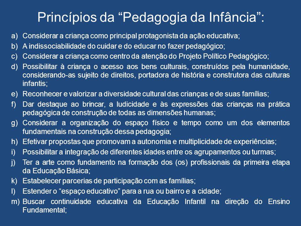 Princípios da Pedagogia da Infância: a)Considerar a criança como principal protagonista da ação educativa; b)A indissociabilidade do cuidar e do educa