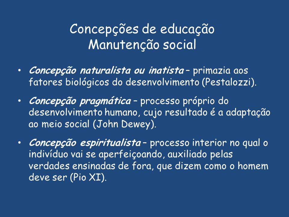 Concepções de educação Manutenção social Concepção naturalista ou inatista – primazia aos fatores biológicos do desenvolvimento (Pestalozzi). Concepçã