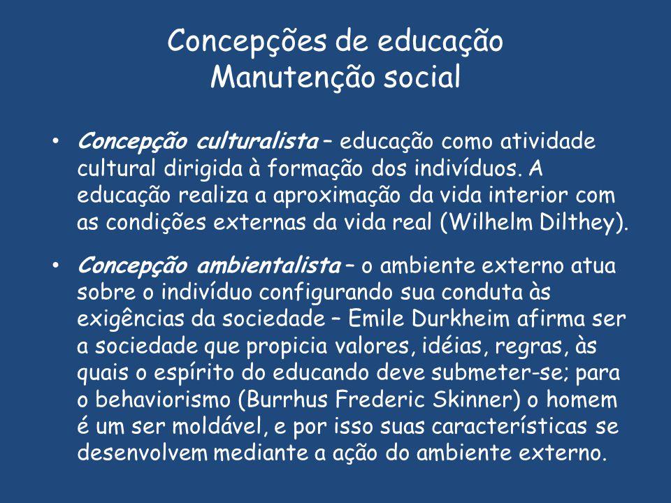 Concepções de educação Manutenção social Concepção culturalista – educação como atividade cultural dirigida à formação dos indivíduos. A educação real