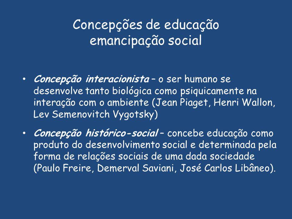 Concepção interacionista – o ser humano se desenvolve tanto biológica como psiquicamente na interação com o ambiente (Jean Piaget, Henri Wallon, Lev S