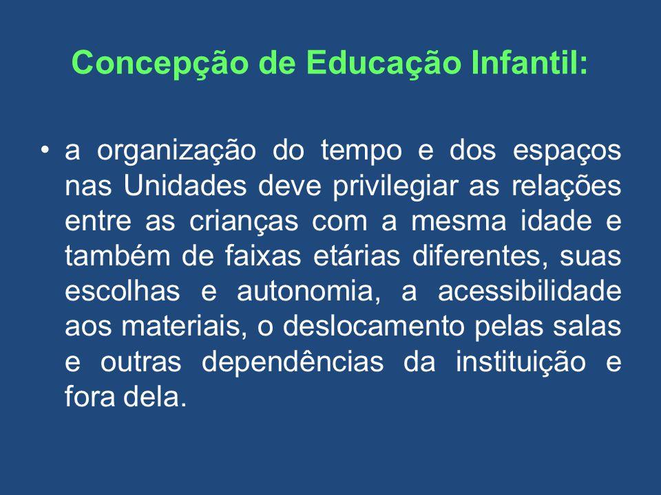 Concepção de Educação Infantil: a organização do tempo e dos espaços nas Unidades deve privilegiar as relações entre as crianças com a mesma idade e t