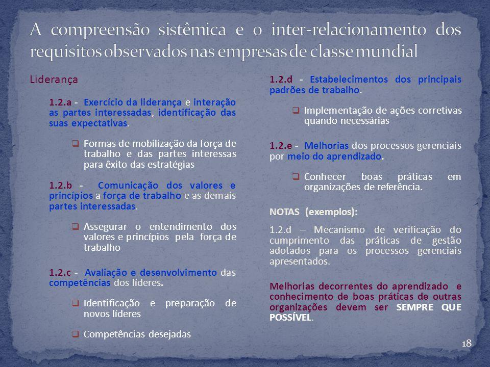 18 Liderança 1.2.a - Exercício da liderança e interação as partes interessadas, identificação das suas expectativas.