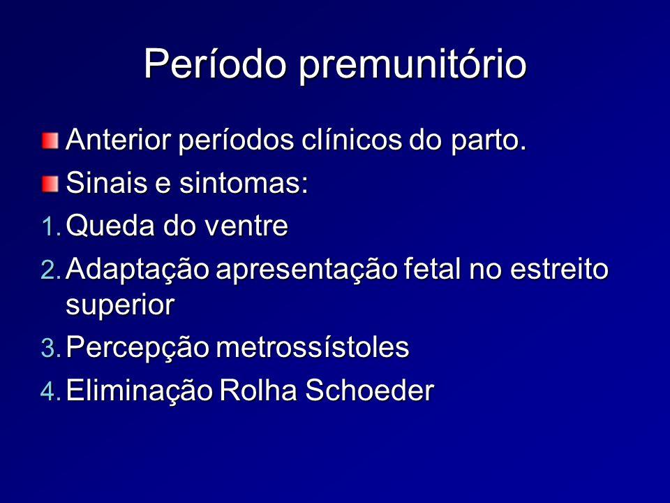 Franco trabalho de parto Contrações uterinas; Apagamento da cérvice ou esvaecimento (incorporação do colo à cavidade uterina – grosso, médio ou fino); Dilatação do colo uterino (aumento do diâmetro de mm p/ até 10 cm); Formação da bolsa das águas.