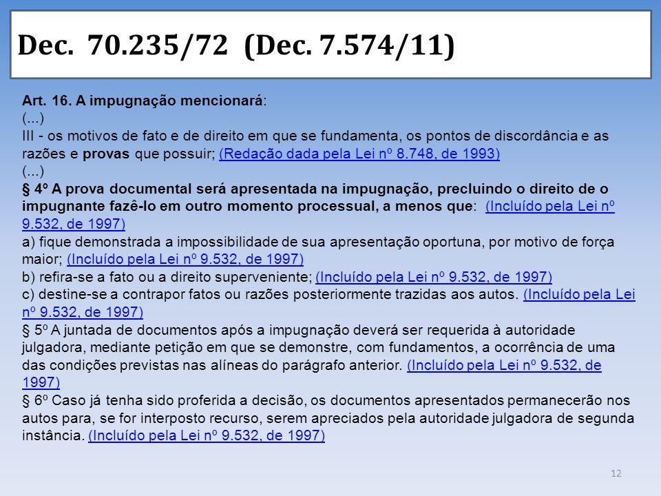 Dec. 70.235/72 (Dec. 7.574/11) Art. 16. A impugnação mencionará: (...) III - os motivos de fato e de direito em que se fundamenta, os pontos de discor