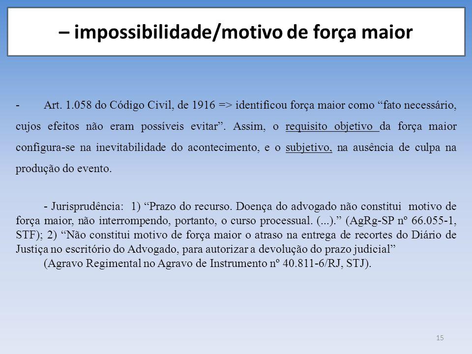 – impossibilidade/motivo de força maior -Art. 1.058 do Código Civil, de 1916 => identificou força maior como fato necessário, cujos efeitos não eram p