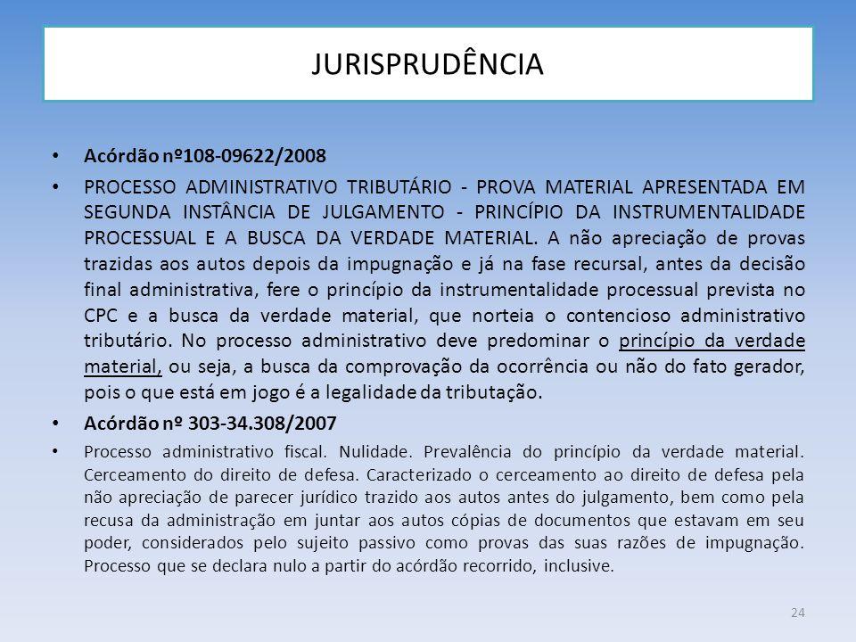 JURISPRUDÊNCIA Acórdão nº108-09622/2008 PROCESSO ADMINISTRATIVO TRIBUTÁRIO - PROVA MATERIAL APRESENTADA EM SEGUNDA INSTÂNCIA DE JULGAMENTO - PRINCÍPIO