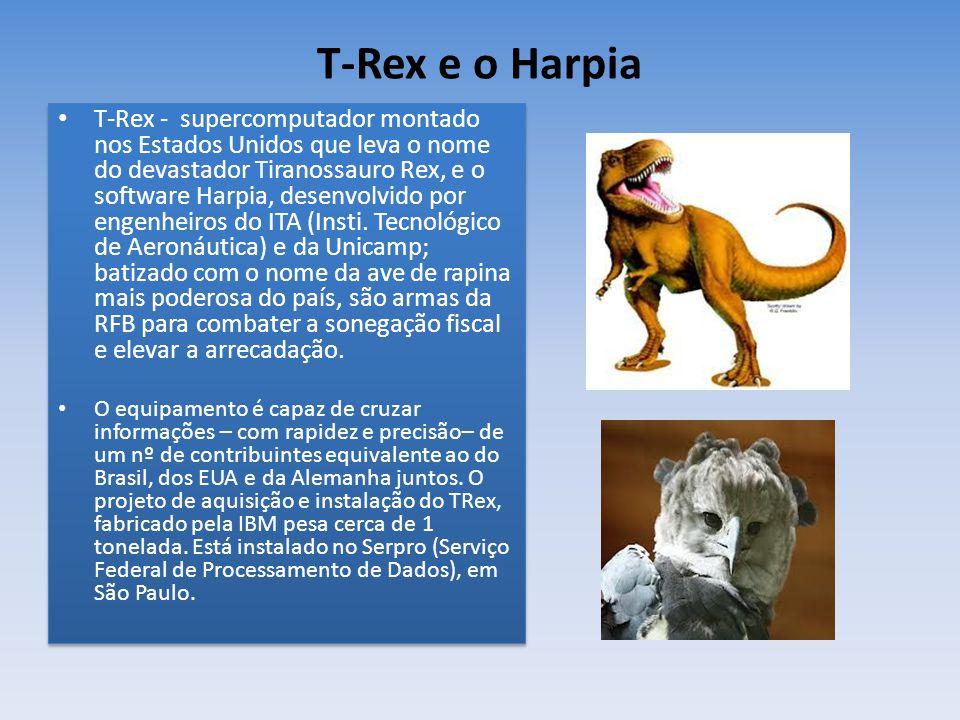T-Rex e o Harpia T-Rex - supercomputador montado nos Estados Unidos que leva o nome do devastador Tiranossauro Rex, e o software Harpia, desenvolvido