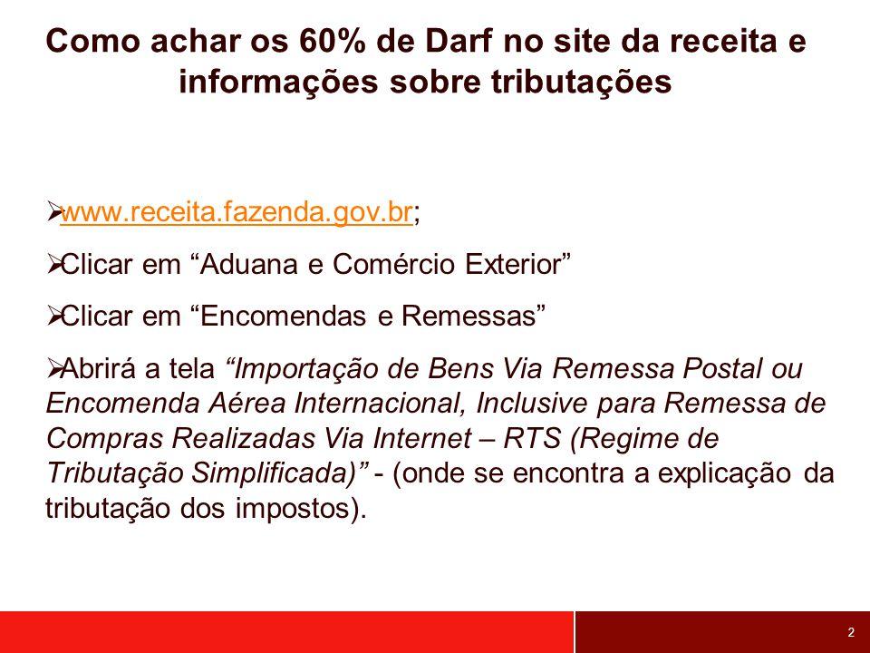 2 Como achar os 60% de Darf no site da receita e informações sobre tributações www.receita.fazenda.gov.br; www.receita.fazenda.gov.br Clicar em Aduana