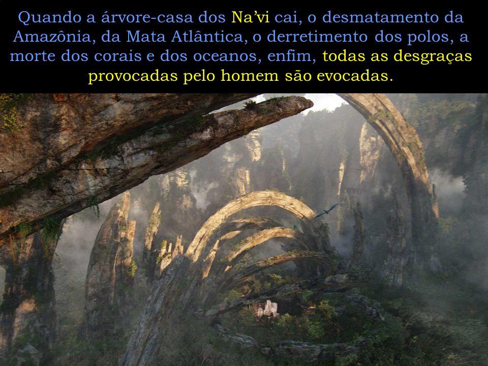 Quando a árvore-casa dos Navi cai, o desmatamento da Amazônia, da Mata Atlântica, o derretimento dos polos, a morte dos corais e dos oceanos, enfim, todas as desgraças provocadas pelo homem são evocadas.