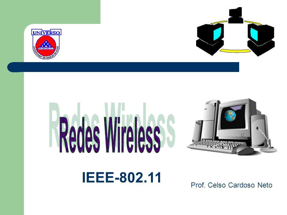 IEEE-802.11 DSSS ( DIRECT SEQUENCE SPREAD SPECTRUM) A TECNOLOGIA FHSS, POR CAUSA DAS FREQUENTES ALTERNÂNCIAS DE CANAL, É MAIS LENTA QUE A TECNOLOGIA DSSS A TECNOLOGIA FHSS UTILIZA TAXAS DE TX DE 1 OU 2 Mbps A TECNOLOGIA DSSS FUNCIONA DE MANEIRA SIMILAR À FHSS, SÓ QUE EM VEZ DA TROCA DE CANAIS SER FEITA DE UMA FORMA ALEATÓRIA, É FEITA DE FORMA SEQÜENCIAL IMPORTANTE: AS TECNOLOGIAS DSSS E FHSS SÃO INCOMPATÍVEIS ENTRE SI A TECNOLOGIA DSSS UTILIZA UMA TAXA DE TX MAIOR DO QUE A TECNOLOGIA FHSS.