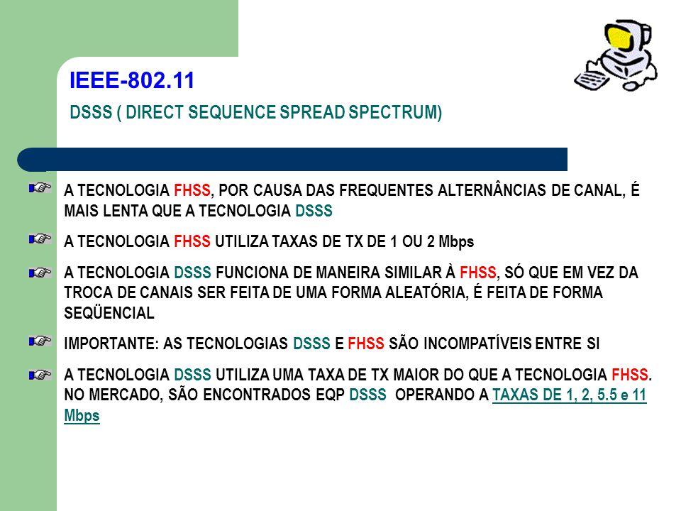 IEEE-802.11 DSSS ( DIRECT SEQUENCE SPREAD SPECTRUM) A TECNOLOGIA FHSS, POR CAUSA DAS FREQUENTES ALTERNÂNCIAS DE CANAL, É MAIS LENTA QUE A TECNOLOGIA D