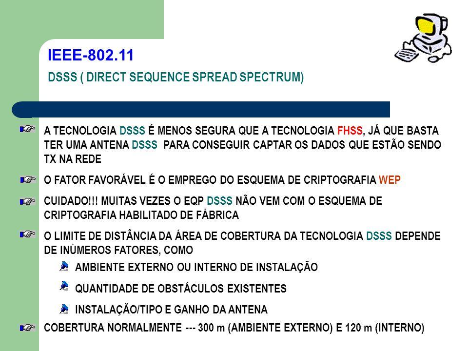 IEEE-802.11 DSSS ( DIRECT SEQUENCE SPREAD SPECTRUM) A TECNOLOGIA DSSS É MENOS SEGURA QUE A TECNOLOGIA FHSS, JÁ QUE BASTA TER UMA ANTENA DSSS PARA CONS