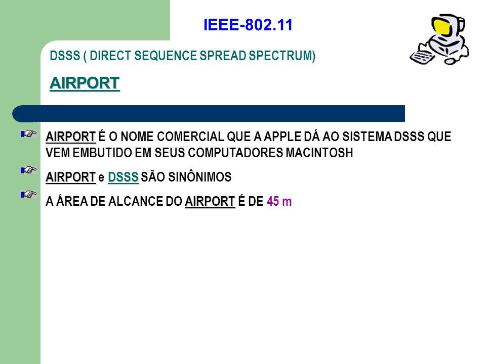 IEEE-802.11 DSSS ( DIRECT SEQUENCE SPREAD SPECTRUM)AIRPORT AIRPORT AIRPORT É O NOME COMERCIAL QUE A APPLE DÁ AO SISTEMA DSSS QUE VEM EMBUTIDO EM SEUS