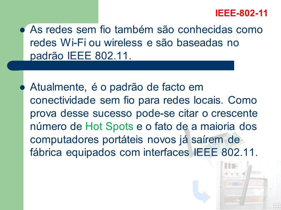 As redes sem fio também são conhecidas como redes Wi-Fi ou wireless e são baseadas no padrão IEEE 802.11. Atualmente, é o padrão de facto em conectivi