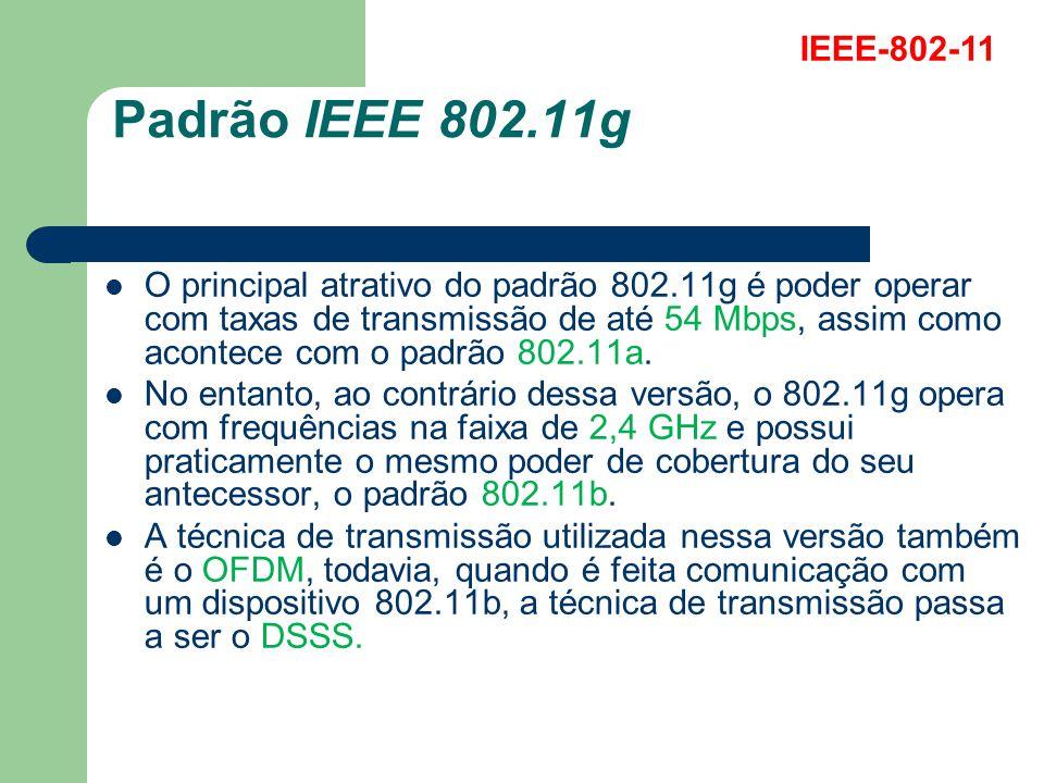 Padrão IEEE 802.11g O principal atrativo do padrão 802.11g é poder operar com taxas de transmissão de até 54 Mbps, assim como acontece com o padrão 80