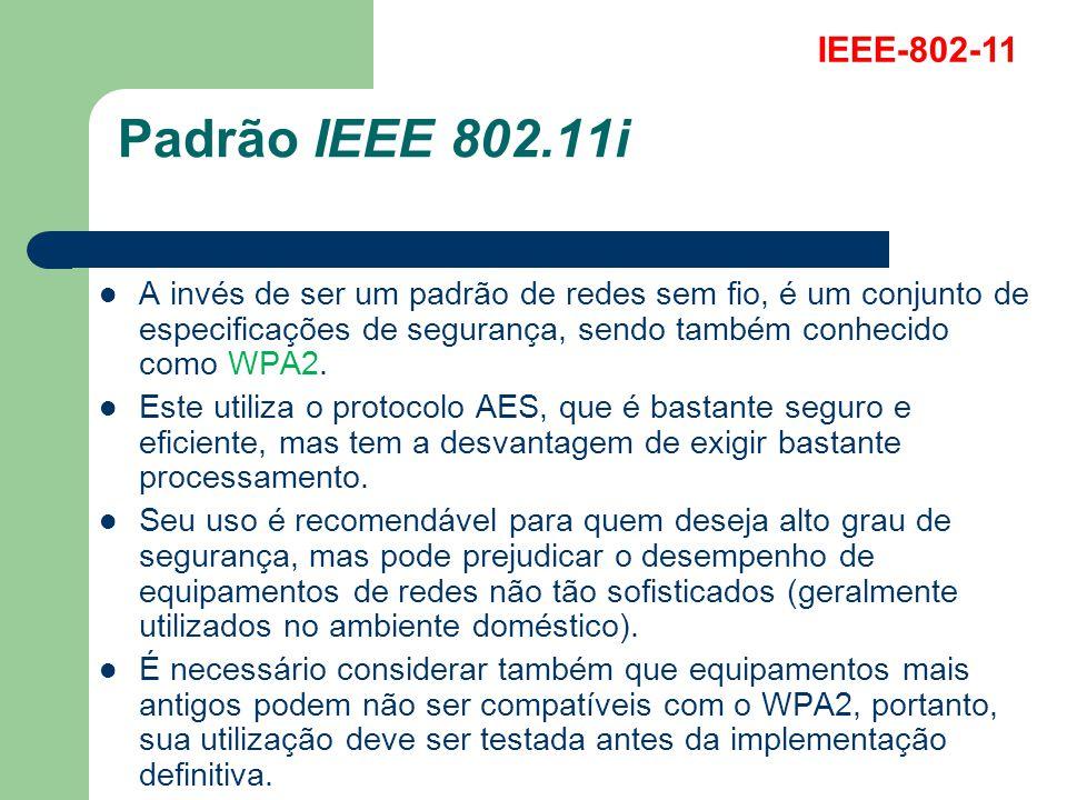 Padrão IEEE 802.11i A invés de ser um padrão de redes sem fio, é um conjunto de especificações de segurança, sendo também conhecido como WPA2. Este ut
