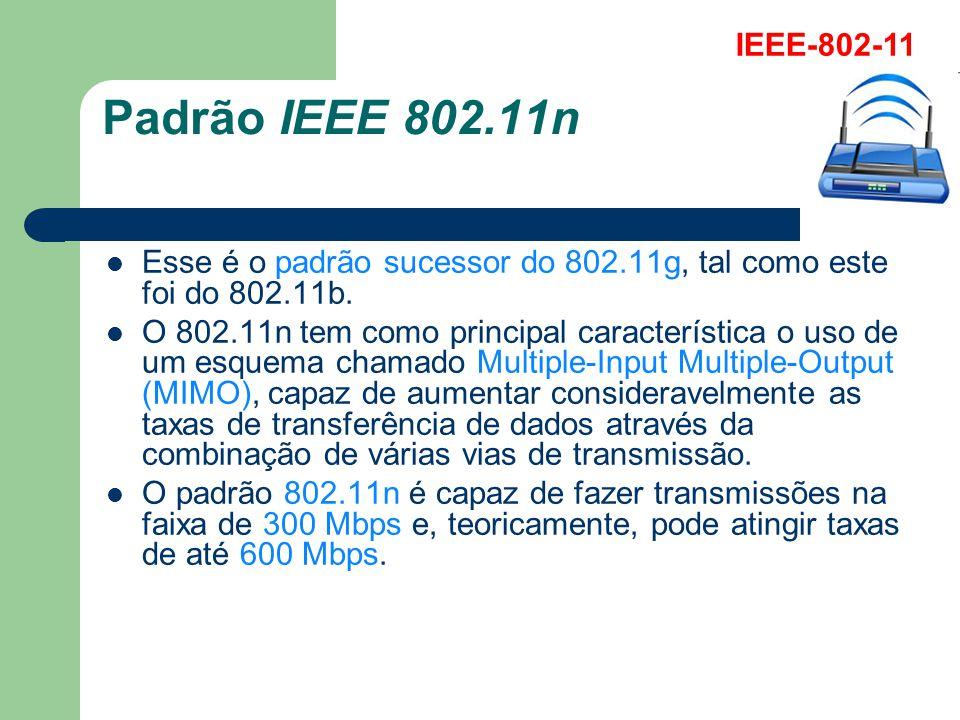 Padrão IEEE 802.11n Esse é o padrão sucessor do 802.11g, tal como este foi do 802.11b. O 802.11n tem como principal característica o uso de um esquema