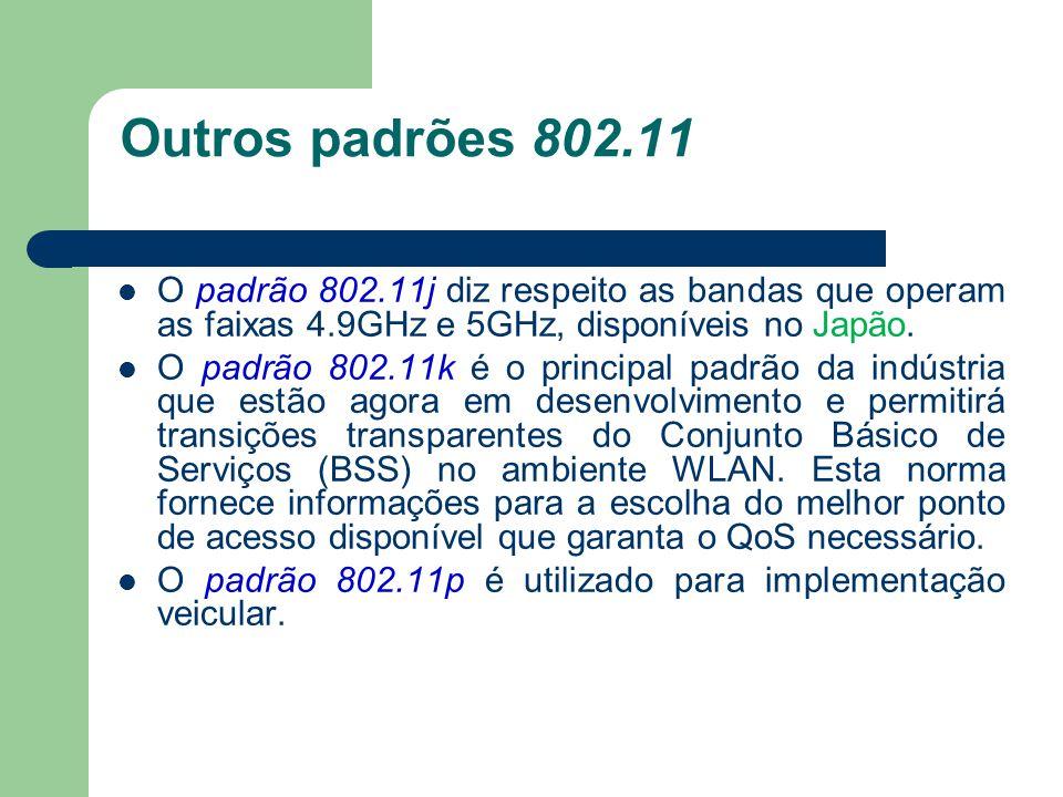 Outros padrões 802.11 O padrão 802.11j diz respeito as bandas que operam as faixas 4.9GHz e 5GHz, disponíveis no Japão. O padrão 802.11k é o principal
