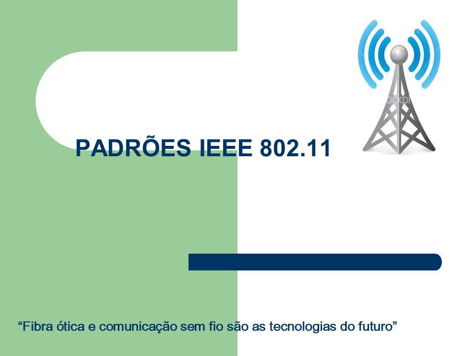 IEEE-802.11 GRANDE PROBLEMA: FALTA DE PADRONIZAÇÃO PARA RESOLVER A QUESTÃO O IEEE LANÇOU O PADRÃO 802.11, DEFININDO A CAMADA DE CONTROLE DE ACESSO AO MEIO (MAC) PARA TRANSMISSÕES SEM FIO O PADRÃO UTILIZA UM ESQUEMA DE TRANSMISSÃO - CSMA/CA (Carrier Sense Multiple Access with Collision Avoidance)