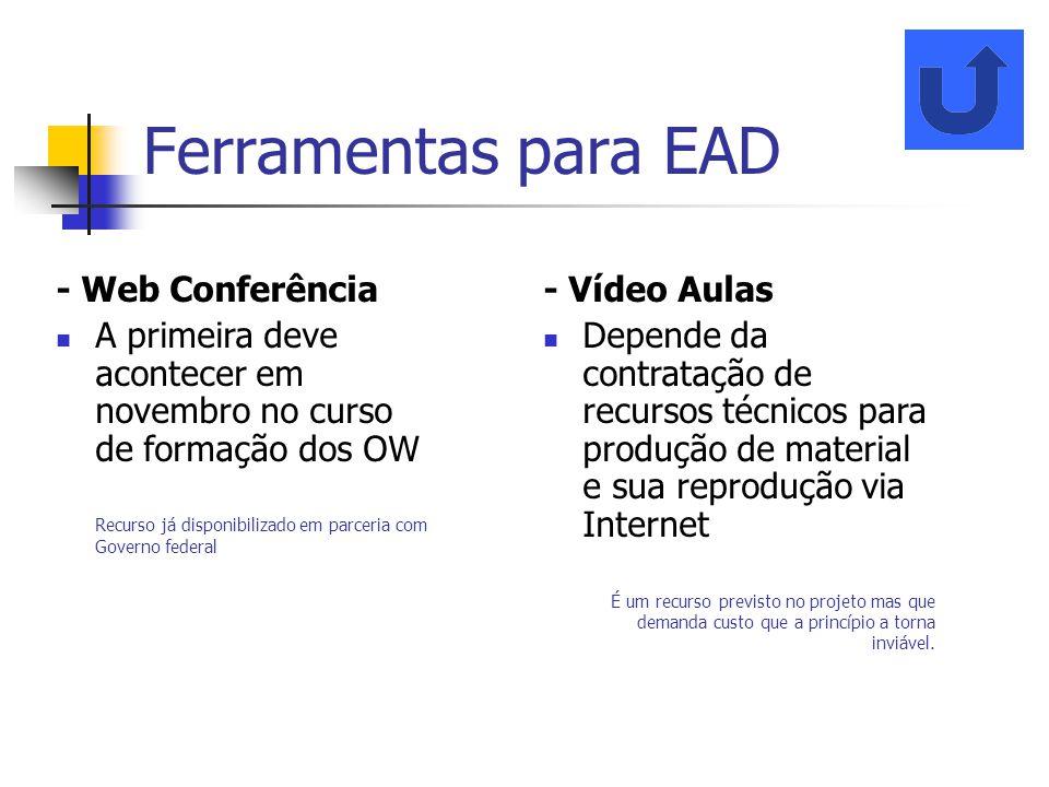 Ferramentas para EAD - Web Conferência A primeira deve acontecer em novembro no curso de formação dos OW Recurso já disponibilizado em parceria com Go