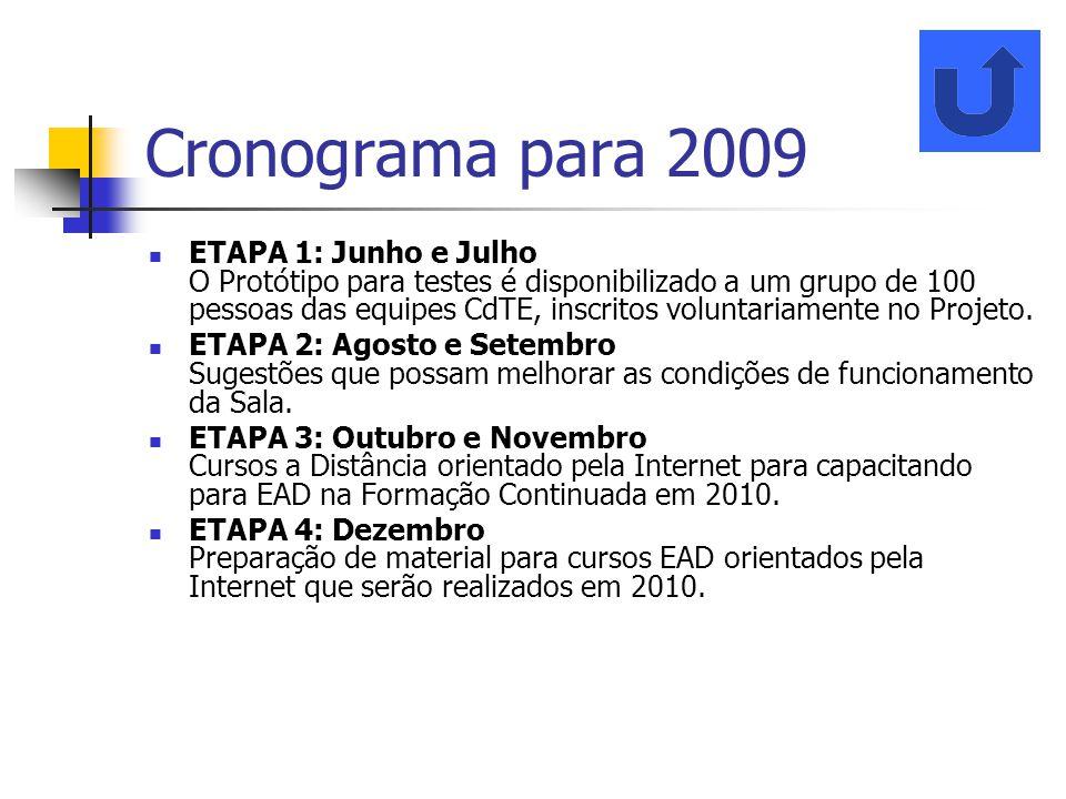 Cronograma para 2009 ETAPA 1: Junho e Julho O Protótipo para testes é disponibilizado a um grupo de 100 pessoas das equipes CdTE, inscritos voluntaria