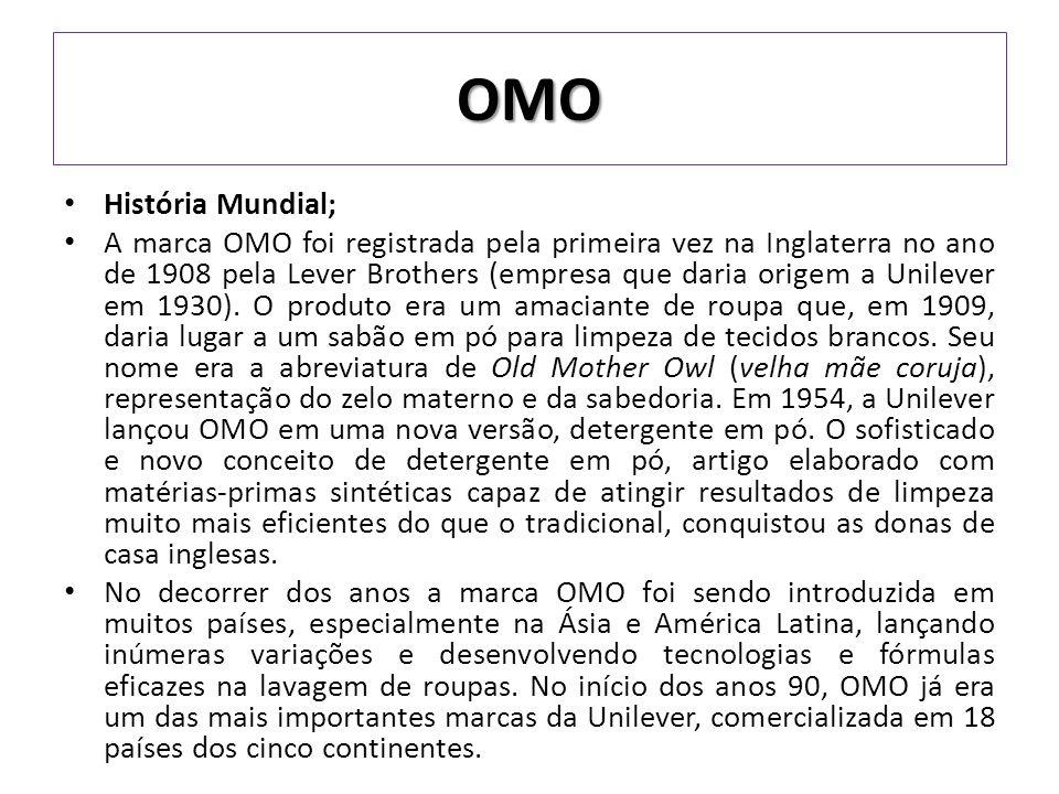 História no Brasil A estratégia para o lançamento de OMO no país foi cercada de mistério nas chamadas de rádio, a principal mídia da época, que inteligentemente aguçavam a curiosidade dos ouvintes com um sonoro Oooomooo, sem revelar do que se tratava.