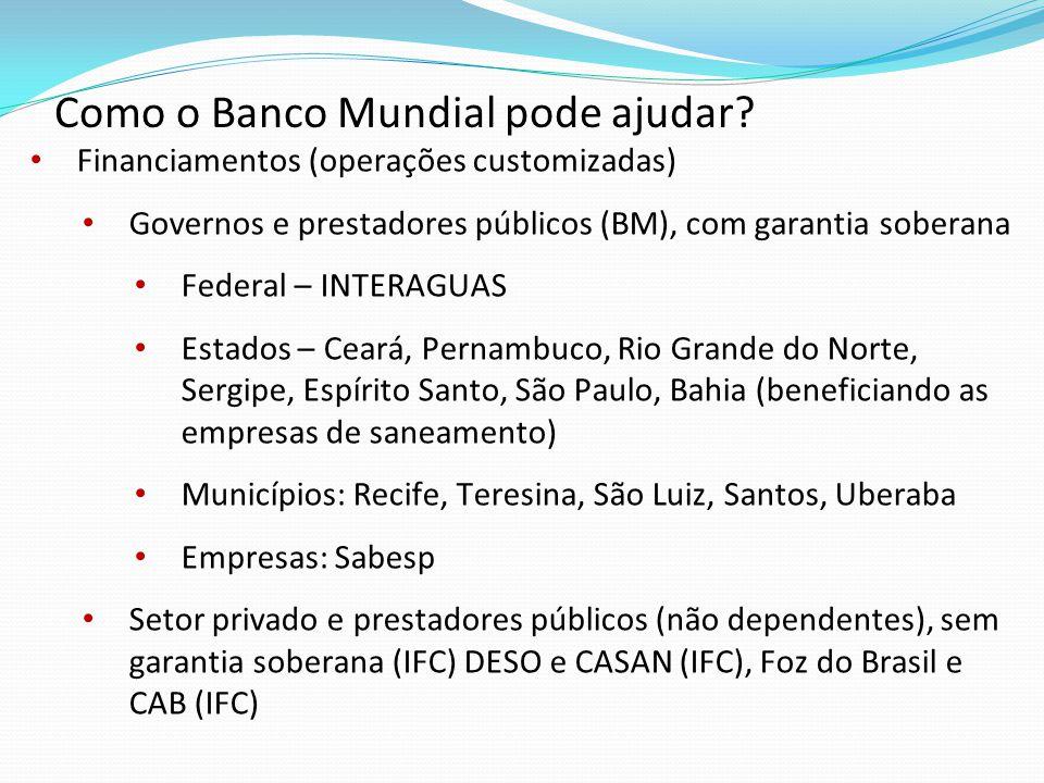 Financiamentos (operações customizadas) Governos e prestadores públicos (BM), com garantia soberana Federal – INTERAGUAS Estados – Ceará, Pernambuco,