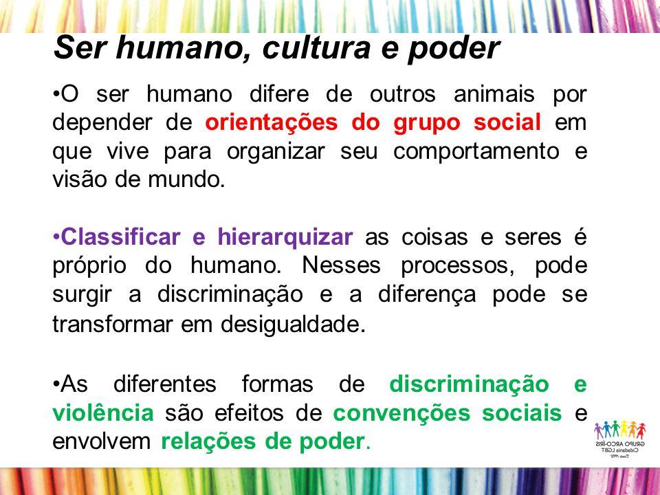 Ser humano, cultura e poder O ser humano difere de outros animais por depender de orientações do grupo social em que vive para organizar seu comportamento e visão de mundo.