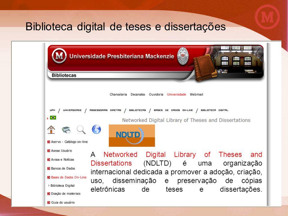 A Networked Digital Library of Theses and Dissertations (NDLTD) é uma organização internacional dedicada a promover a adoção, criação, uso, disseminaç