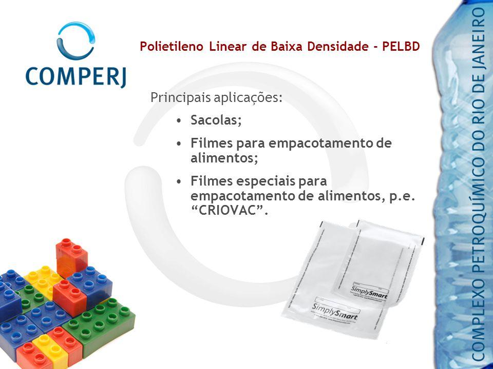 Polietileno Linear de Baixa Densidade - PELBD Principais aplicações: Sacolas; Filmes para empacotamento de alimentos; Filmes especiais para empacotame