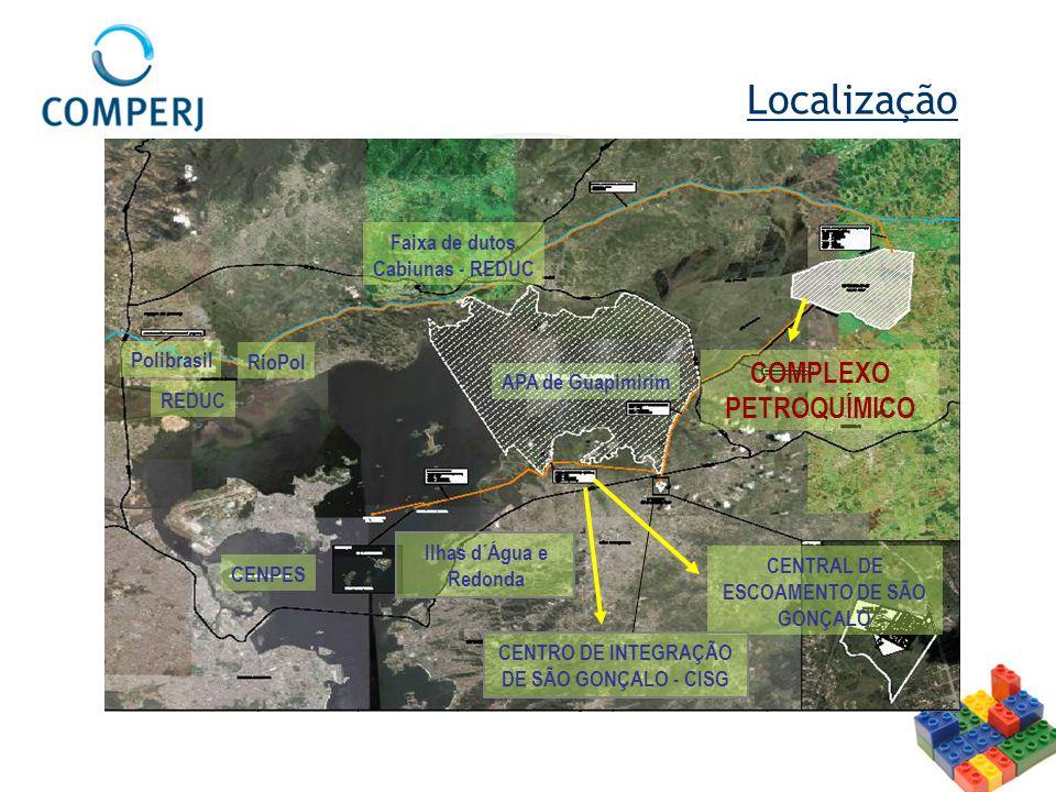 COMPLEXO PETROQUÍMICO REDUC RioPol Polibrasil APA de Guapimirim CENTRAL DE ESCOAMENTO DE SÃO GONÇALO Ilhas d´Água e Redonda Faixa de dutos Cabiunas -